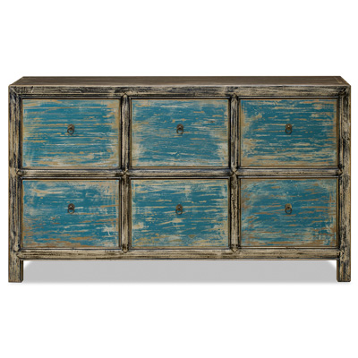Distressed Elmwood Ming File Cabinet with Powder Blue Drawers