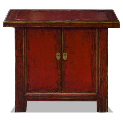 Distressed Red Elmwood Chinese Mandarin Cabinet