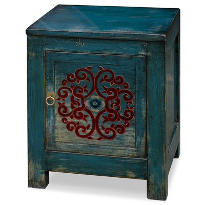 Distressed Indigo Blue Elmwood Tibetan Cabinet