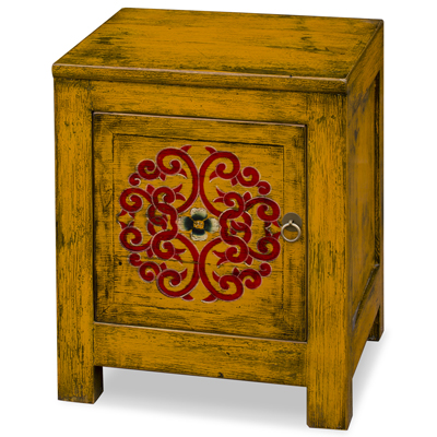 Distressed Saffron Yellow Elmwood Tibetan Cabinet