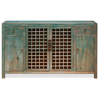 Distressed Blue Elmwood Ming Sideboard