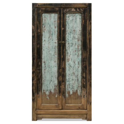 Distressed Black and Light Blue Elmwood Ming Armoire