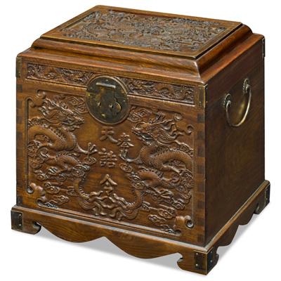 Elmwood Imperial Dragon Motif Oriental Dowry Chest