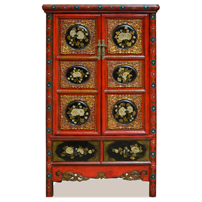 Elmwood Qing Dynasty Oriental Armoire with Peony Flowers