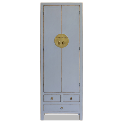 Distressed Pastel Blue Elmwood Ming Armoire