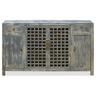 Distressed Gray Elmwood Dynasty Asian Sideboard