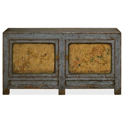 Distressed Gray and Yellow Elmwood Tibetan Cabinet