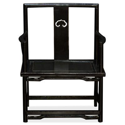 Distressed Black Elmwood Ming Ruyi Arm Chair