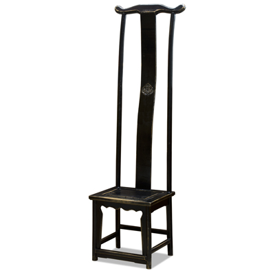 Distressed Black Elmwood Ming Tall Chair