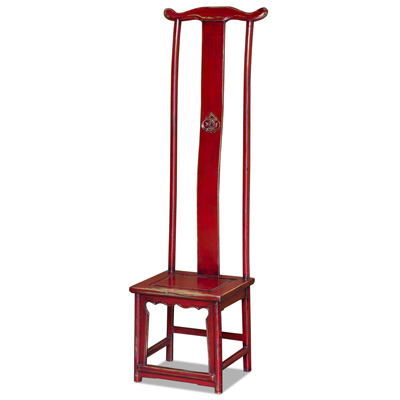 Distressed Red Elmwood Chinese Ming Tall Chair