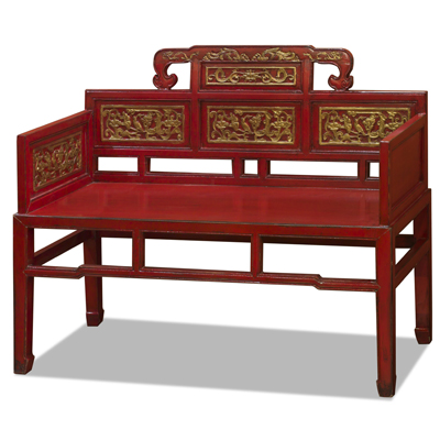 Red and Gold Gilt Elmwood Chinese Imperial Palace Chair