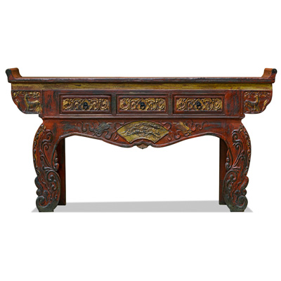 Vintage Elmwood Grand Imperial Oriental Altar Console Table