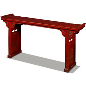 Vintage Red Elmwood Cloud Oriental Altar Console Table