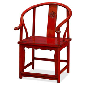 Distressed Red Elmwood Chinese Ming Arm Chair