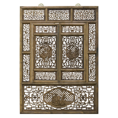 Cedarwood Lattice Window Shutter with People