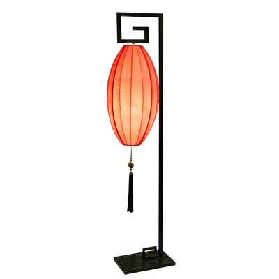 Hanging Chinese Palace Floor Lantern with Red Shade