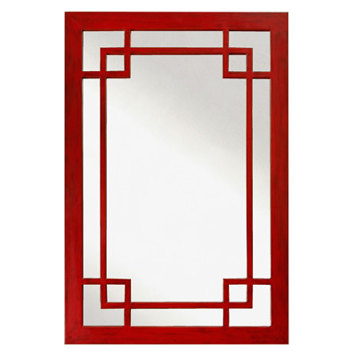 Red Elmwood Window Panel Asian Mirror