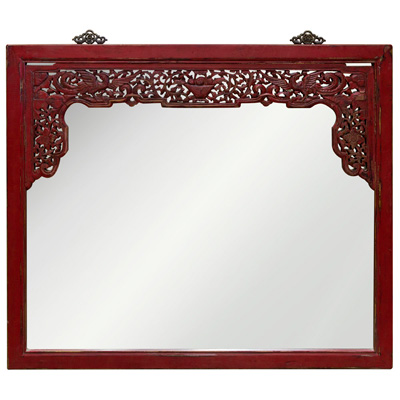 Vintage Red Lattice Trim Elmwood Phoenix Oriental Mirror