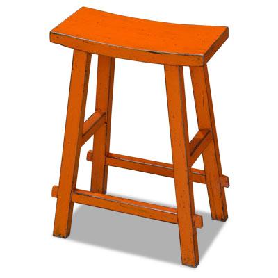 Distressed Orange Elmwood Zen Style Asian Bar Stool