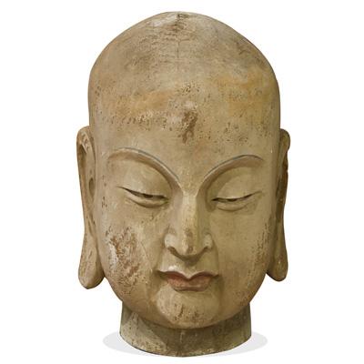 Vintage Enlightened Monk Head Chinese Wooden Sculpture