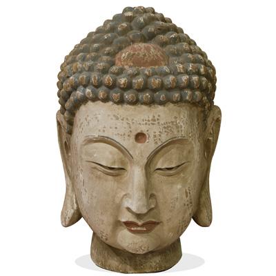 Vintage Buddha Head Chinese Wooden Sculpture