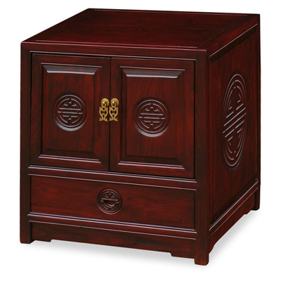 Dark Cherry Elmwood Chinese Longevity Motif Petite Cabinet
