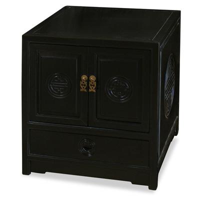 Black Elmwood Chinese Longevity Motif Petite Cabinet