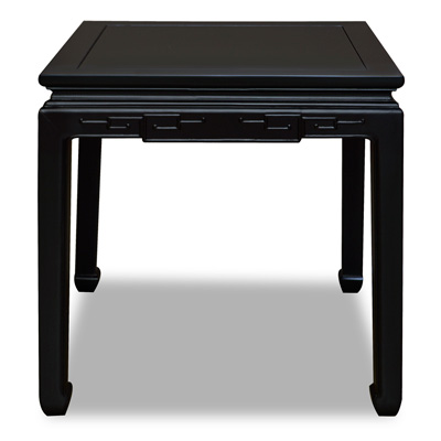Matte Black Elmwood Chinese Key Motif Lamp Table