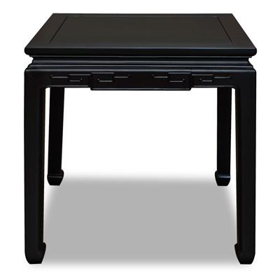 Matte Black Elmwood Chinese Key Motif Lamp Table