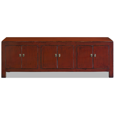 Distressed Red Elmwood Kang Asian Media Cabinet