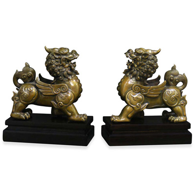 Hand Made Bronze Pixiu Oriental Statue Set