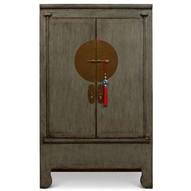 Vintage Elmwood Earl Gray Chinese Wedding Cabinet
