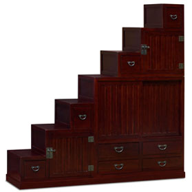 Dark Cherry Elmwood Grand Japanese Step Tansu Chest