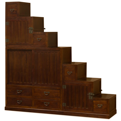 Mahogany Finish Elmwood Grand Japanese Step Tansu Chest