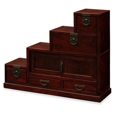 Dark Cherry Elmwood Japanese Style Step Tansu