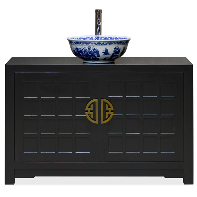 Matte Black Elmwood Japanese Sho Ji Vanity Cabinet