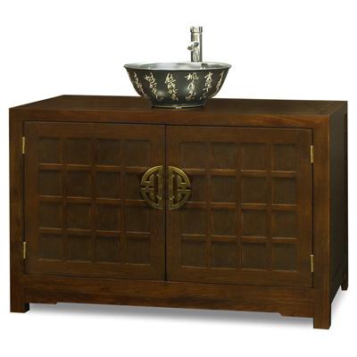 Mahogany Finish Elmwood Tansu Vanity Cabinet