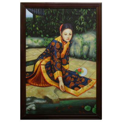 Lady with Koi Fish Chinese Oil Painting