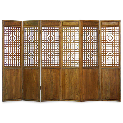Grand Elmwood Panel Oriental Floor Screen