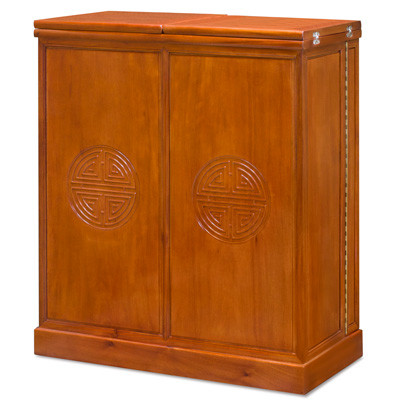 Natural Finish Rosewood Longevity Oriental Bar Cabinet