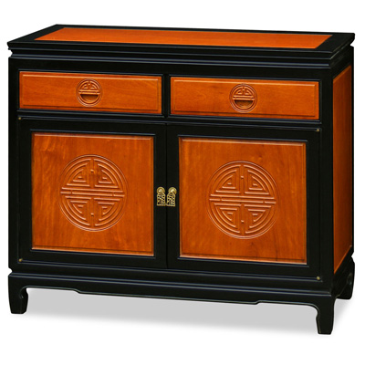 Black Trim Natural Finish Rosewood Chinese Longevity Sideboard