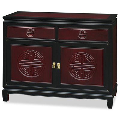 Black Trim Dark Cherry Rosewood Chinese Longevity Sideboard