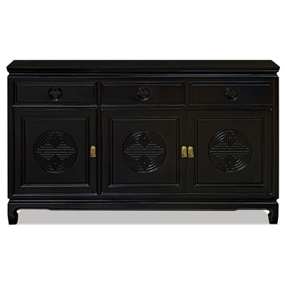 Black Rosewood Chinese Longevity Sideboard
