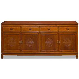 72 Inch Natural Finish Rosewood Chinese Longevity Design Sideboard