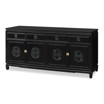 Grand Black Rosewood Chinese Longevity Sideboard