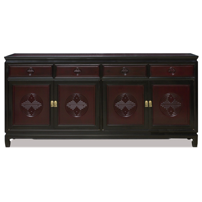 72 Inch Black Trim Dark Cherry Rosewood Chinese Longevity Motif Sideboard