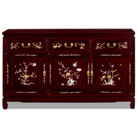 Cherry Rosewood Oriental Sideboard with Flower and Bird Mother of Pearl Inlay