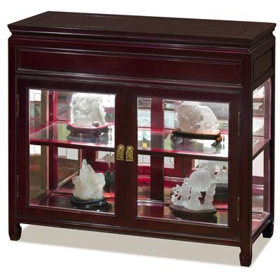 36in Cherry Rosewood Oriental Petite Curio Cabinet