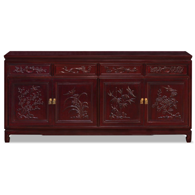 Grand Cherry Rosewood Four Season Flower Oriental Sideboard