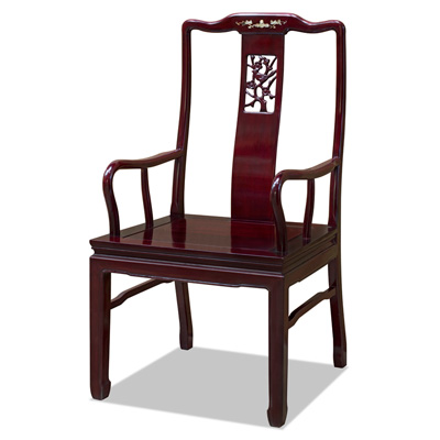 Dark Cherry Rosewood Flower and Bird Oriental Arm Chair with Flower Mother of Pearl Inlay